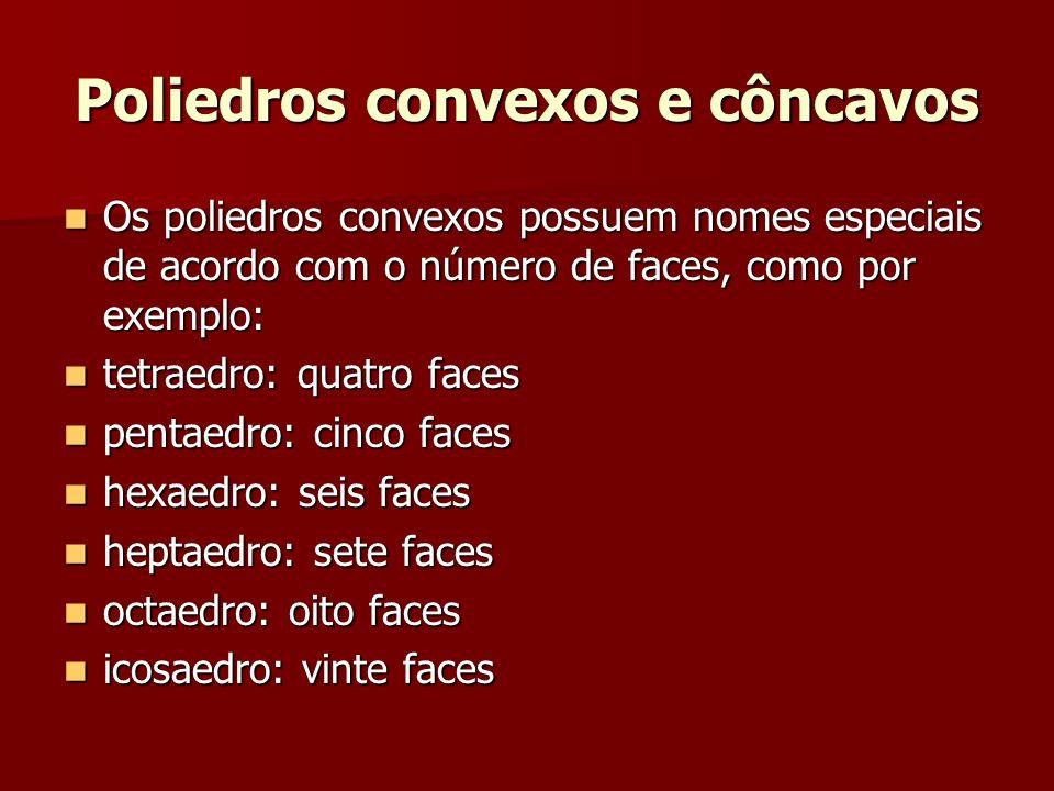 Poliedros convexos e côncavos Os poliedros convexos possuem nomes especiais de acordo com o número de faces, como por exemplo: Os poliedros convexos p