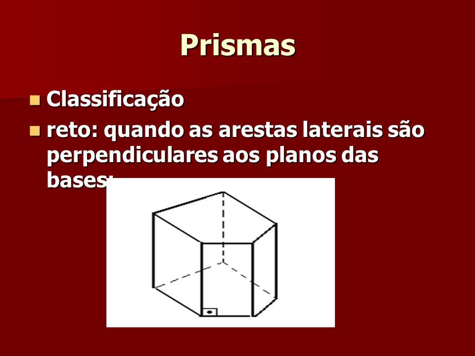 Prismas Classificação Classificação reto: quando as arestas laterais são perpendiculares aos planos das bases; reto: quando as arestas laterais são pe