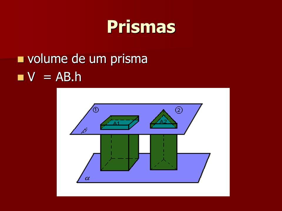 Prismas volume de um prisma volume de um prisma V = AB.h V = AB.h