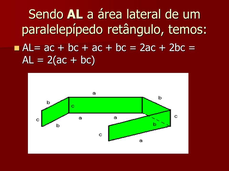 Sendo AL a área lateral de um paralelepípedo retângulo, temos: AL= ac + bc + ac + bc = 2ac + 2bc = AL = 2(ac + bc) AL= ac + bc + ac + bc = 2ac + 2bc =