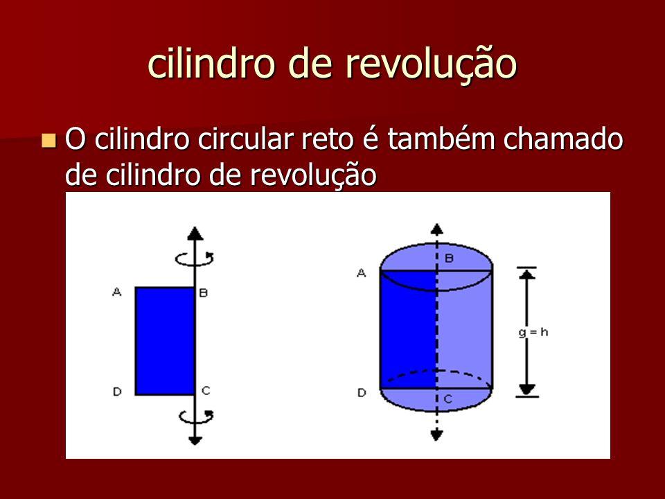 cilindro de revolução O cilindro circular reto é também chamado de cilindro de revolução O cilindro circular reto é também chamado de cilindro de revo