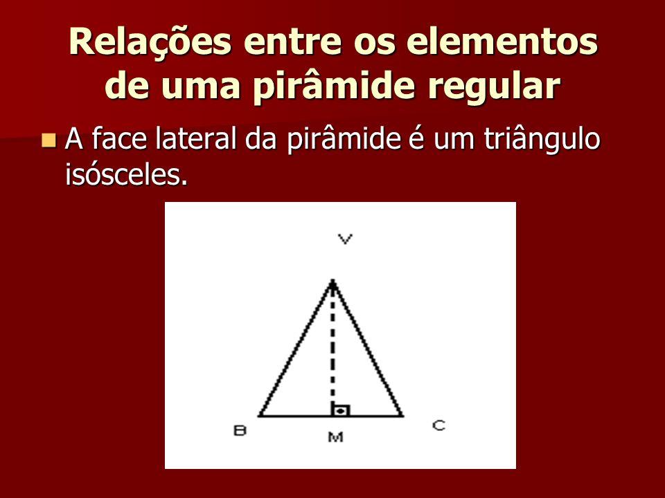 A face lateral da pirâmide é um triângulo isósceles. A face lateral da pirâmide é um triângulo isósceles.