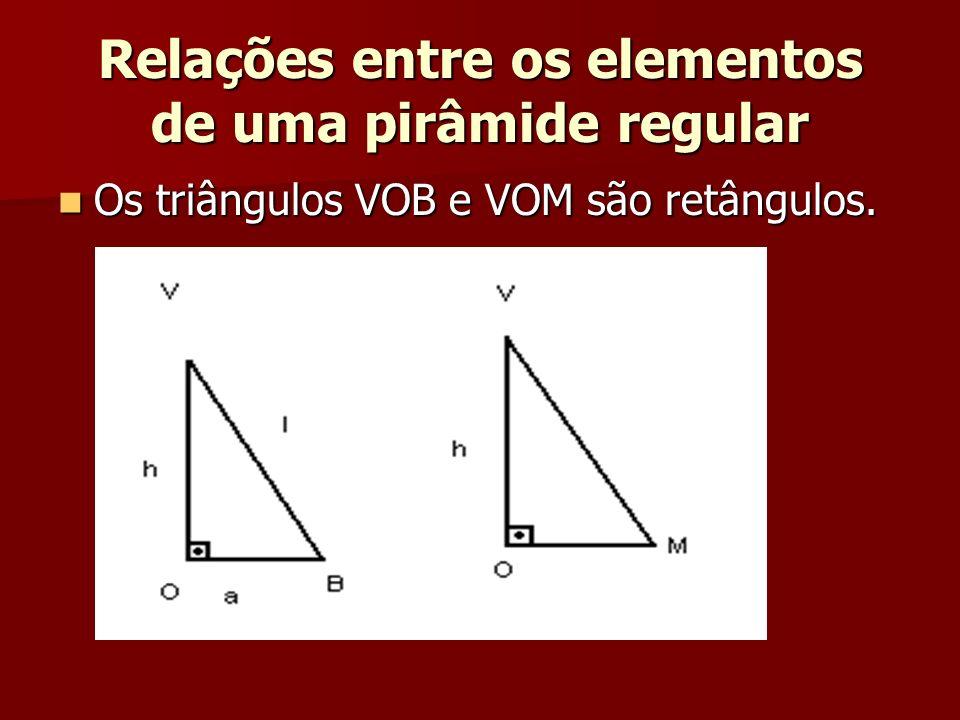 Relações entre os elementos de uma pirâmide regular Os triângulos VOB e VOM são retângulos. Os triângulos VOB e VOM são retângulos.