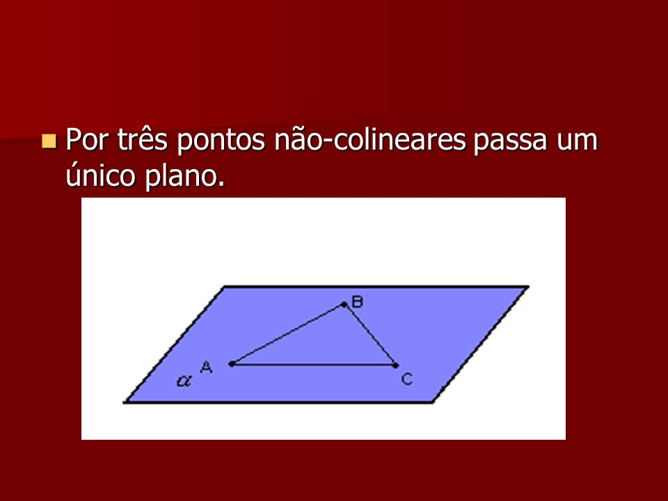 Por três pontos não-colineares passa um único plano. Por três pontos não-colineares passa um único plano.