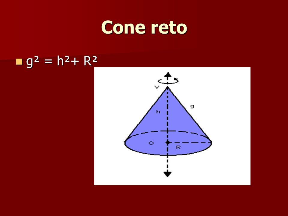 Cone reto g² = h²+ R² g² = h²+ R²