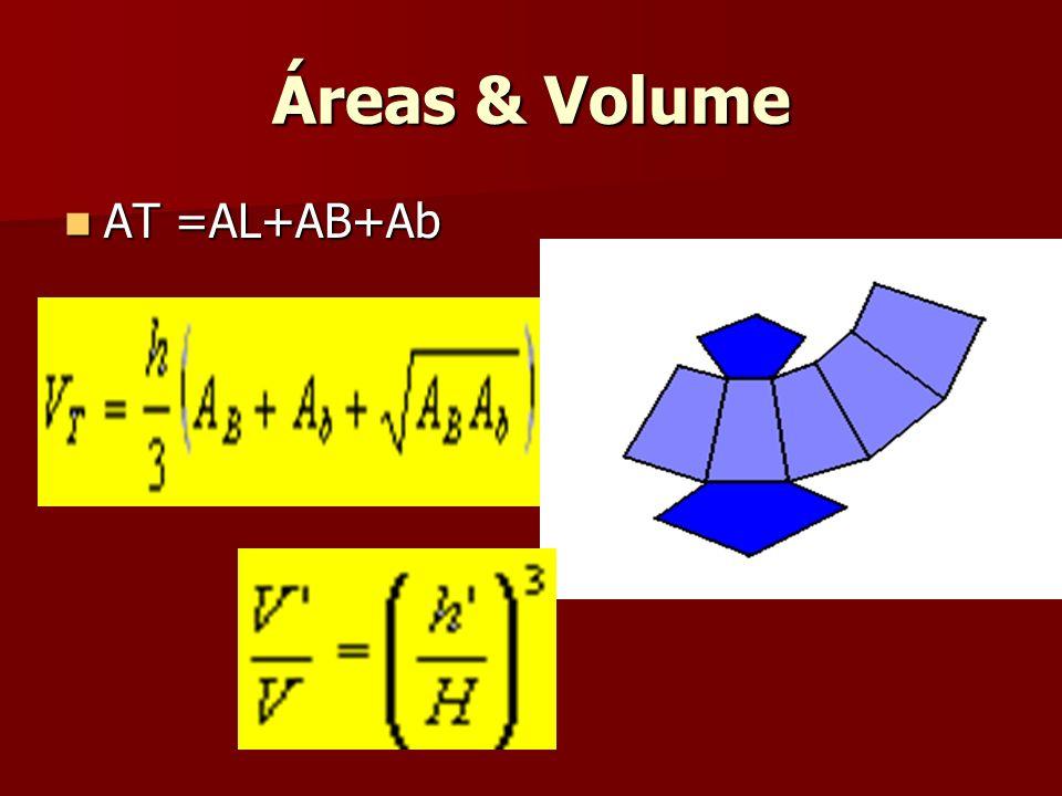 Áreas & Volume AT =AL+AB+Ab AT =AL+AB+Ab
