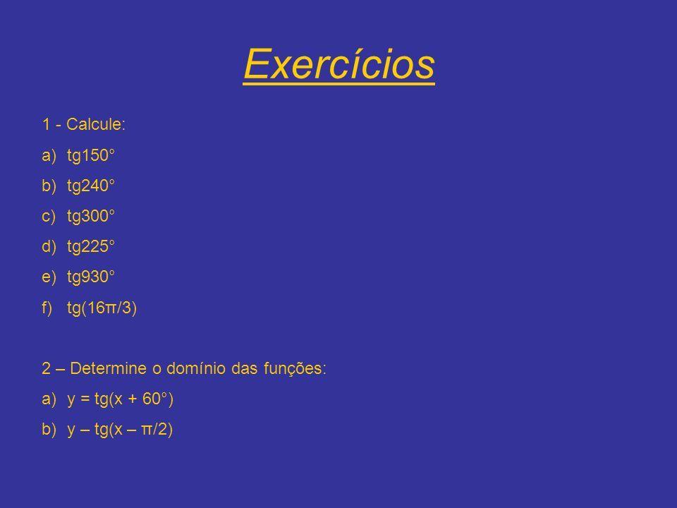 Exercícios 1 - Calcule: a)tg150° b)tg240° c)tg300° d)tg225° e)tg930° f)tg(16π/3) 2 – Determine o domínio das funções: a)y = tg(x + 60°) b)y – tg(x – π