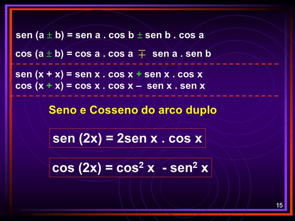 14 O valor de cos 10 o cos 35 o – sen 10 o. sen 35 º, é: sen (a b) = sen a. cos b sen b. cos a cos (a b) = cos a. cos a sen a. sen b cos (a + b) = cos