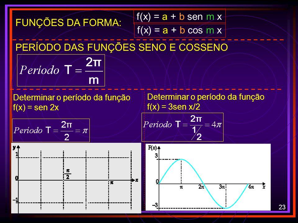 22 FUNÇÕES DA FORMA: f(x) = a + b sen m x f(x) = a + b cos m x IMAGEM DA FUNÇÃO SENO E COSSENO: [a – b; a + b] CONCLUSÕES: a desloca o gráfico b estic