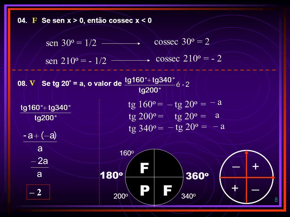18 FUNÇÕES TRIGONOMÉTRICAS FUNÇÃO SENO y = sen x sen x 0 + 1 0 - 1 0 0 o 90 o 180 o 270 o 360 o x x IMAGEM: DOMÍNIO:REAIS [-1, 1] CRESCENTE: DECRESCENTE: 1º.