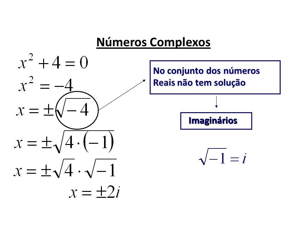Números Complexos No conjunto dos números Reais não tem solução Imaginários
