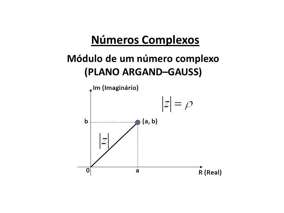 Números Complexos Módulo de um número complexo (PLANO ARGAND–GAUSS) R (Real) Im (Imaginário) (a, b) a b 0