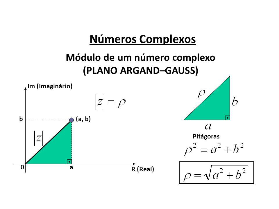 Números Complexos Módulo de um número complexo (PLANO ARGAND–GAUSS) R (Real) Im (Imaginário) (a, b) a b 0 Pitágoras