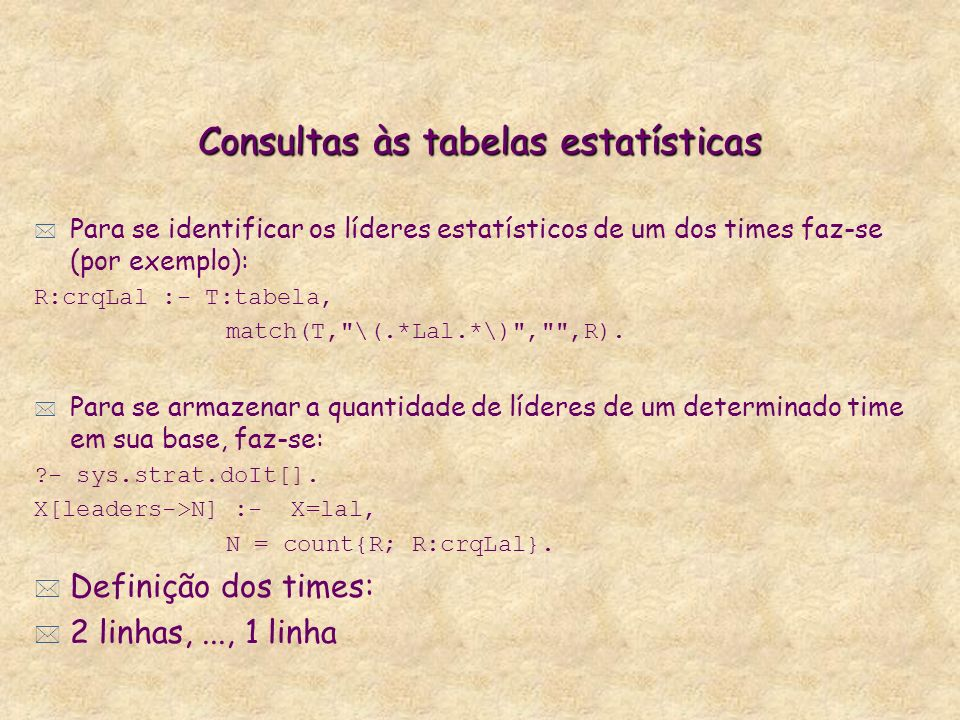 Consultas às tabelas estatísticas * Para se identificar os líderes estatísticos de um dos times faz-se (por exemplo): R:crqLal :- T:tabela, match(T, \(.*Lal.*\) , ,R).