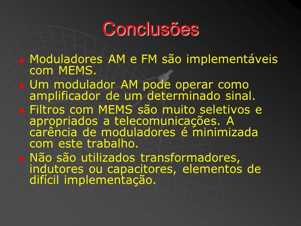 Conclusões Moduladores AM e FM são implementáveis com MEMS. Um modulador AM pode operar como amplificador de um determinado sinal. Filtros com MEMS sã