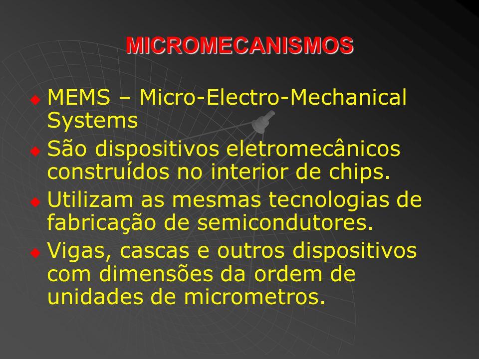 MICROMECANISMOS MEMS – Micro-Electro-Mechanical Systems São dispositivos eletromecânicos construídos no interior de chips. Utilizam as mesmas tecnolog