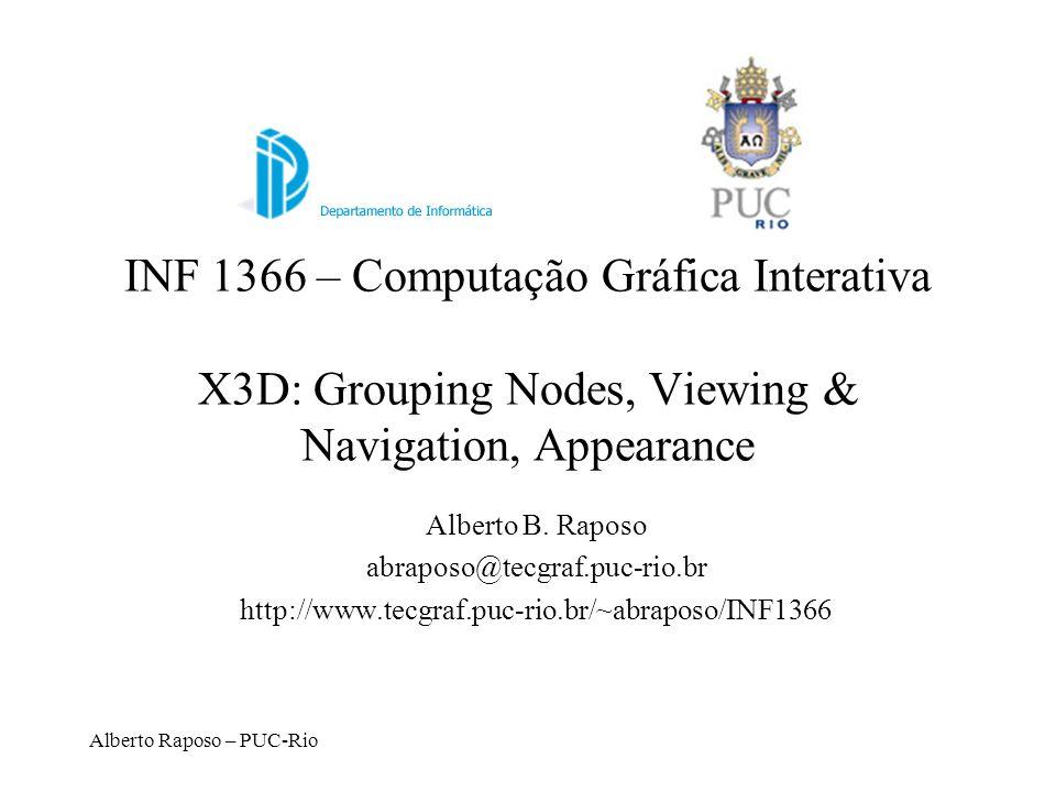 Alberto Raposo – PUC-Rio Abstract Node Types X3DChildNode X3DBoundedObject X3DGroupingNode X3DInfoNode X3DUrlObject (Interface)