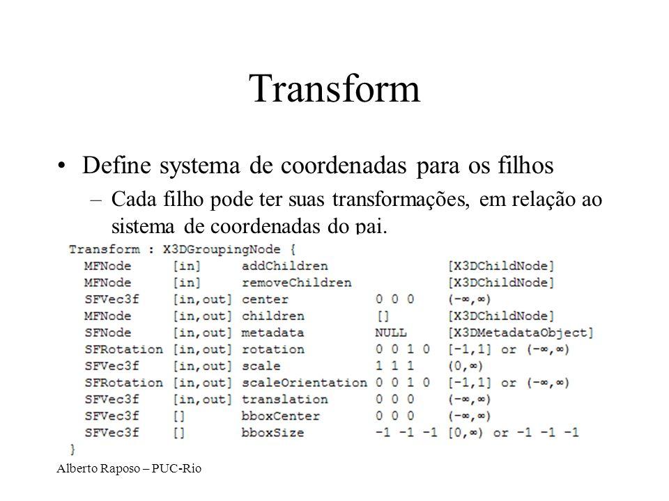 Alberto Raposo – PUC-Rio Transform Define systema de coordenadas para os filhos –Cada filho pode ter suas transformações, em relação ao sistema de coordenadas do pai.