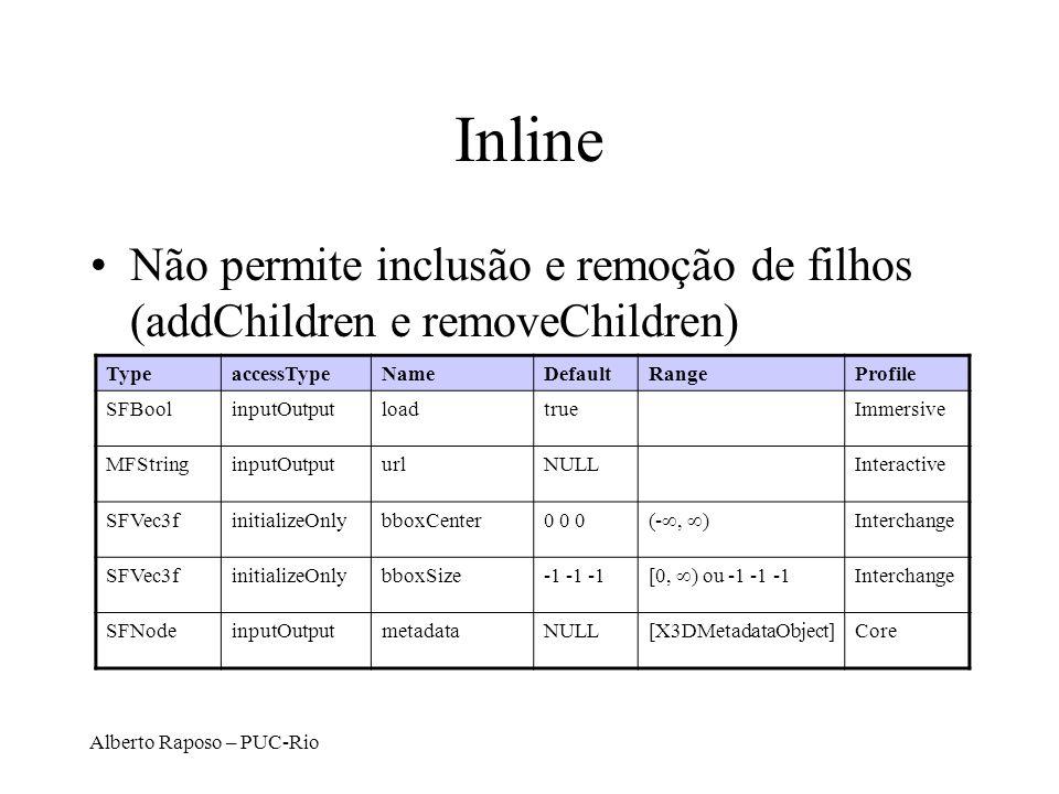 Alberto Raposo – PUC-Rio Inline Não permite inclusão e remoção de filhos (addChildren e removeChildren) TypeaccessTypeNameDefaultRangeProfile SFBoolinputOutputloadtrueImmersive MFStringinputOutputurlNULLInteractive SFVec3finitializeOnlybboxCenter0 0 0 (-, ) Interchange SFVec3finitializeOnlybboxSize-1 -1 -1 [0, ) ou -1 -1 -1 Interchange SFNodeinputOutputmetadataNULL[X3DMetadataObject]Core