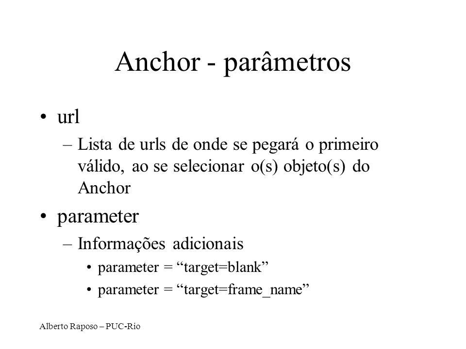 Alberto Raposo – PUC-Rio Anchor - parâmetros url –Lista de urls de onde se pegará o primeiro válido, ao se selecionar o(s) objeto(s) do Anchor parameter –Informações adicionais parameter = target=blank parameter = target=frame_name