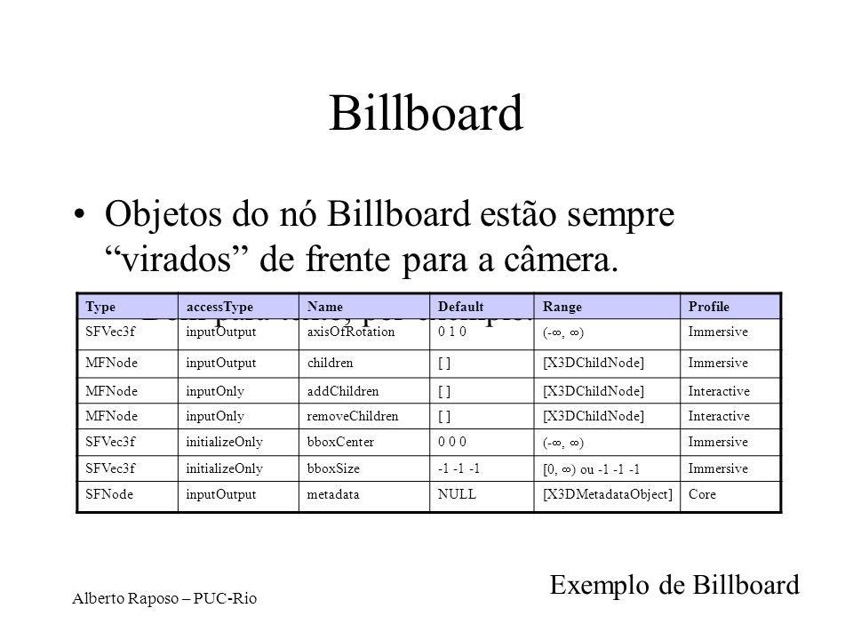 Alberto Raposo – PUC-Rio Billboard Objetos do nó Billboard estão sempre virados de frente para a câmera.