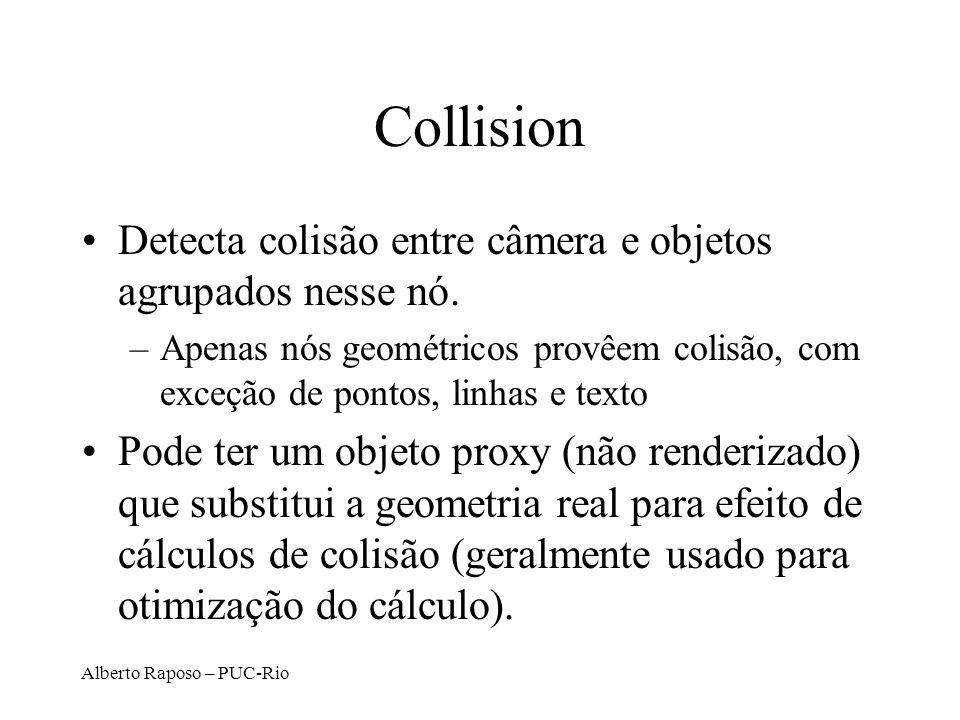 Alberto Raposo – PUC-Rio Collision Detecta colisão entre câmera e objetos agrupados nesse nó.