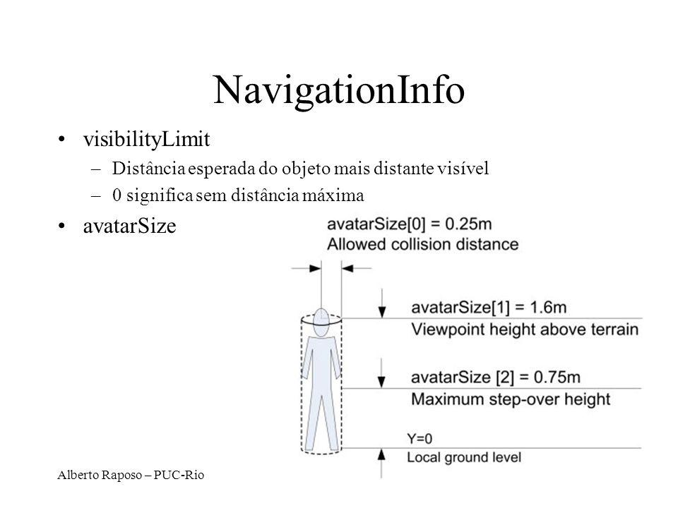 Alberto Raposo – PUC-Rio NavigationInfo visibilityLimit –Distância esperada do objeto mais distante visível –0 significa sem distância máxima avatarSize