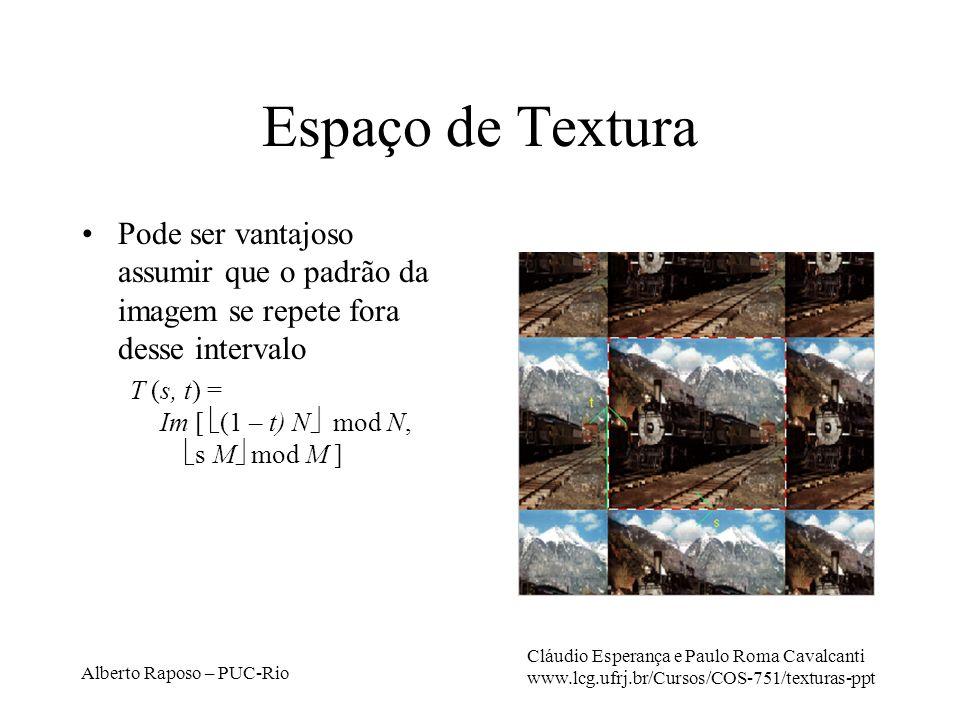 Alberto Raposo – PUC-Rio Espaço de Textura Pode ser vantajoso assumir que o padrão da imagem se repete fora desse intervalo T (s, t) = Im [ (1 – t) N mod N, s M mod M ] Cláudio Esperança e Paulo Roma Cavalcanti www.lcg.ufrj.br/Cursos/COS-751/texturas-ppt
