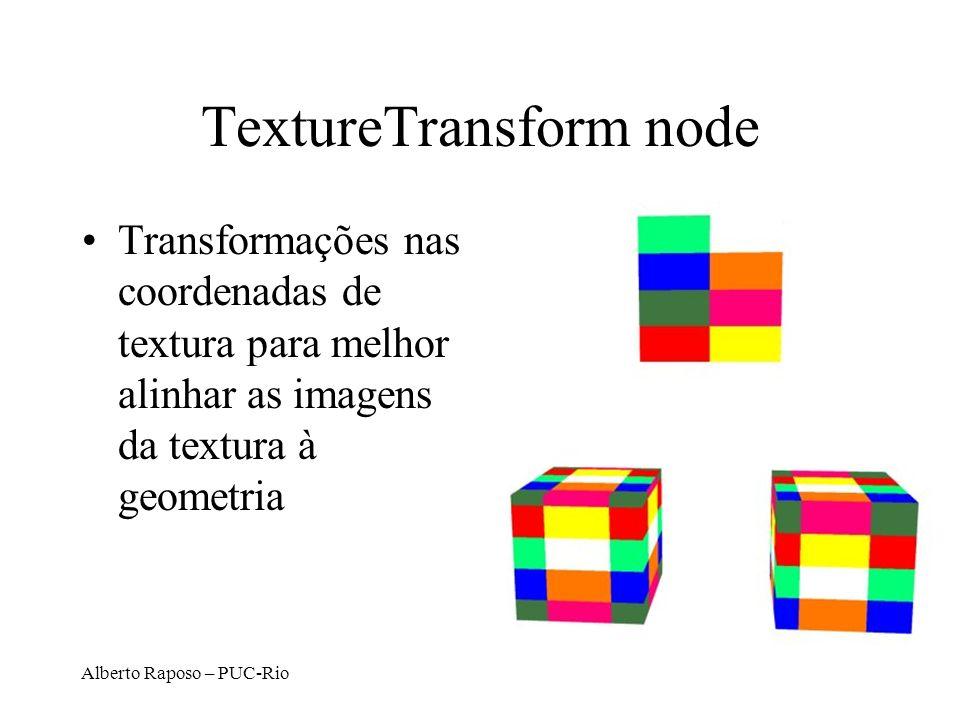 Alberto Raposo – PUC-Rio TextureTransform node Transformações nas coordenadas de textura para melhor alinhar as imagens da textura à geometria