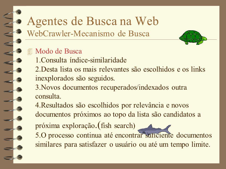 Agentes de Busca na Web WebCrawler-Mecanismo de Busca 4 Modo Indexação- Tantos servidores quanto possível. 1.Novo servidor encontrado - lista de visit