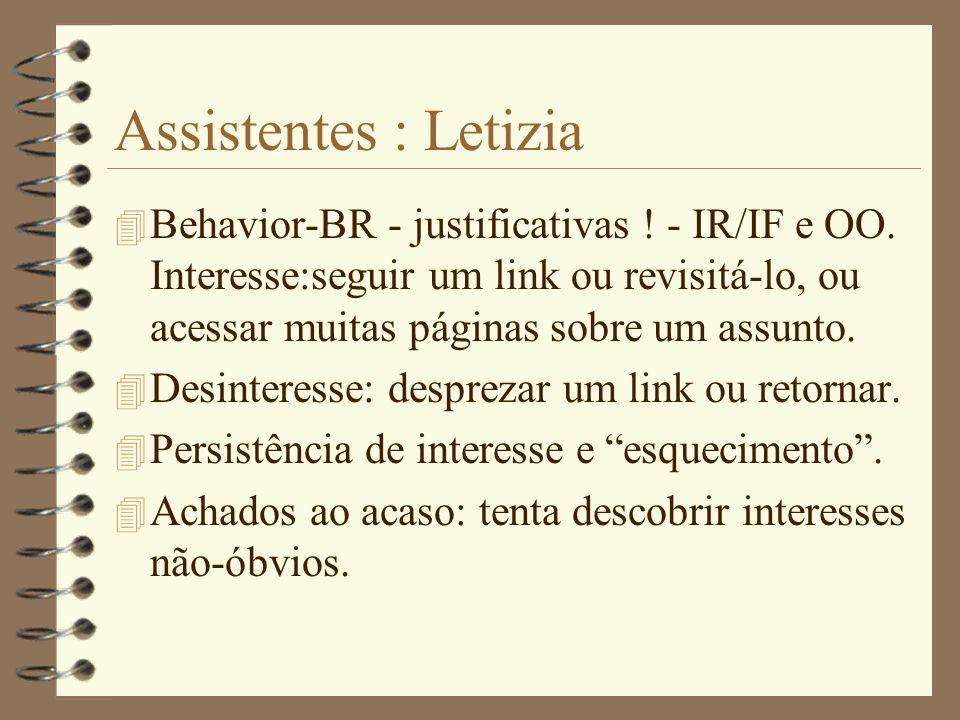 Assistentes : Letizia 4 H.Lieberman-MIT-Macintosh Clisp. 4 Imita o comportamento do usuário, baseado em preferência, não em relevância. 4 Segue o usuá