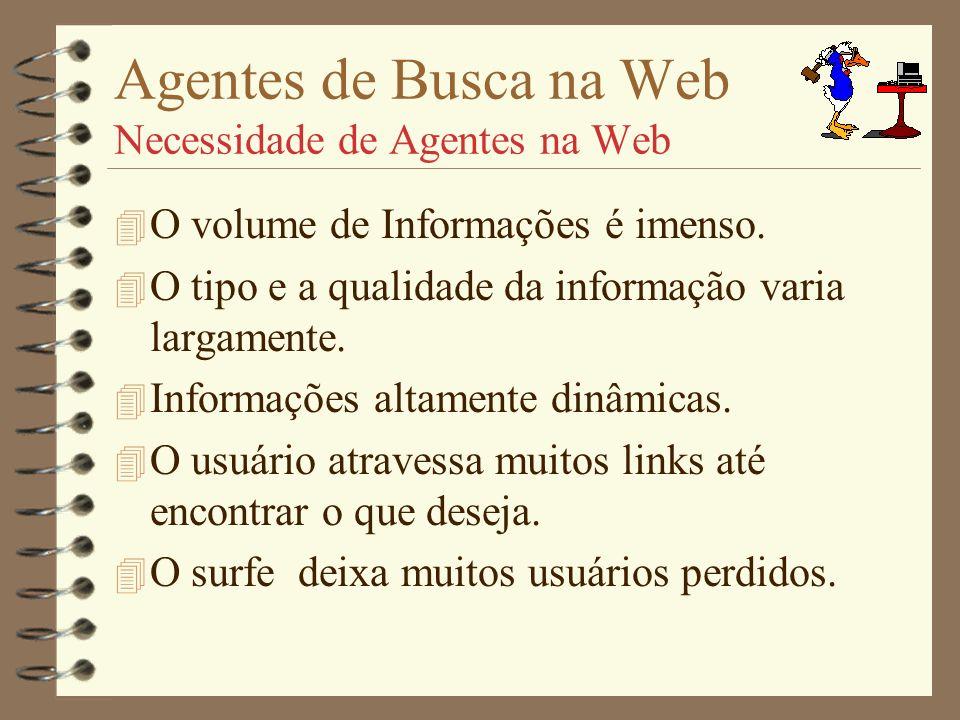 Agentes de Busca na Web WebCrawlers 4 DATABASE.- Atualizada após algumas 100 de documentos.