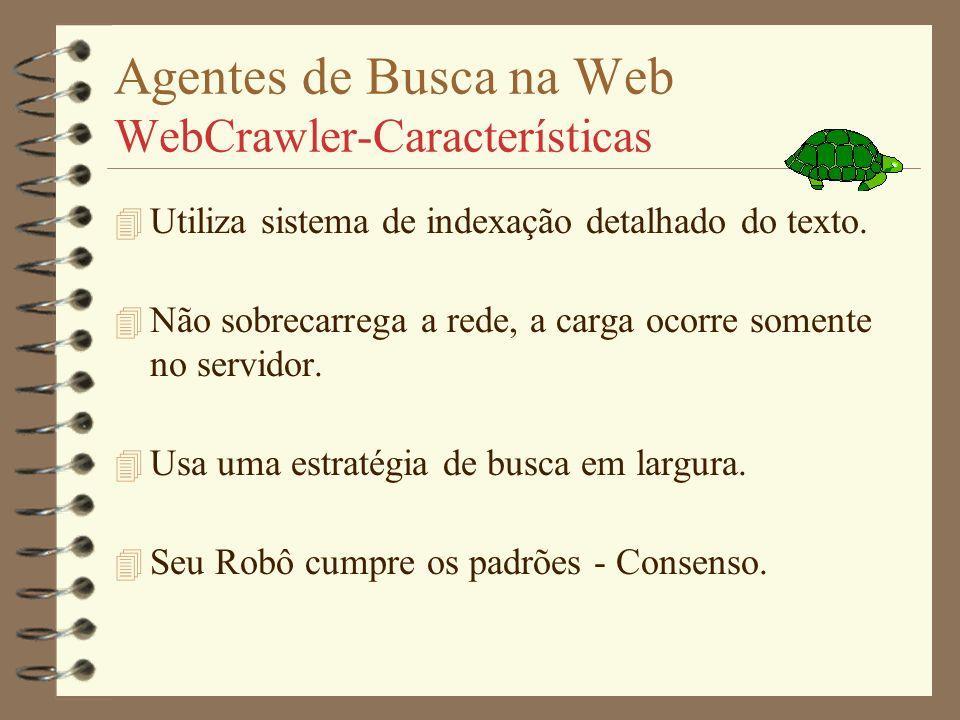 Agentes de Busca na Web WebCrawler 4 Projeto - Brian Pinkerton (U.Washington-Seattle) 4 Apresentado - 04/94 c/ base de dados inicial 6000 servidores,