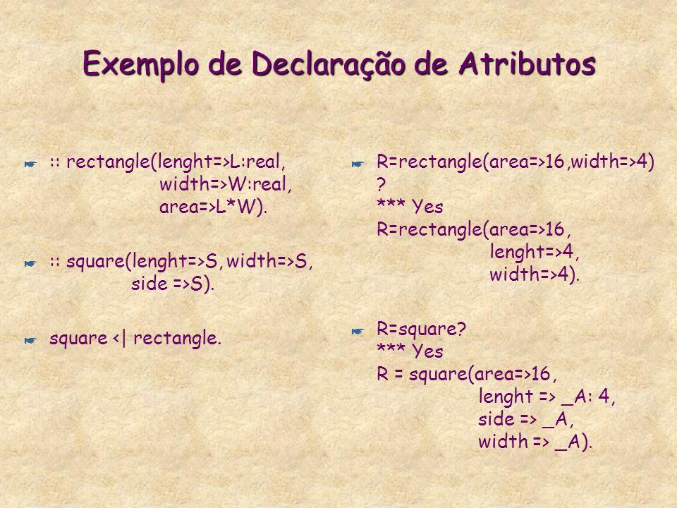 Declaração de Atributos em Sorts (Classes) * :: Head onde Head é um termo arbitrário. * :: person (age=> int). Assegura que todo termo com o sort pers