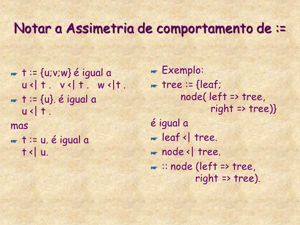 Possíveis Declarações de Sorts * :: t (atr). * :: t (atr) | rest. * t (atr) <| u. * t (atr) <| u | rest. * t := u (atr). * t := u (atr) | restrições.