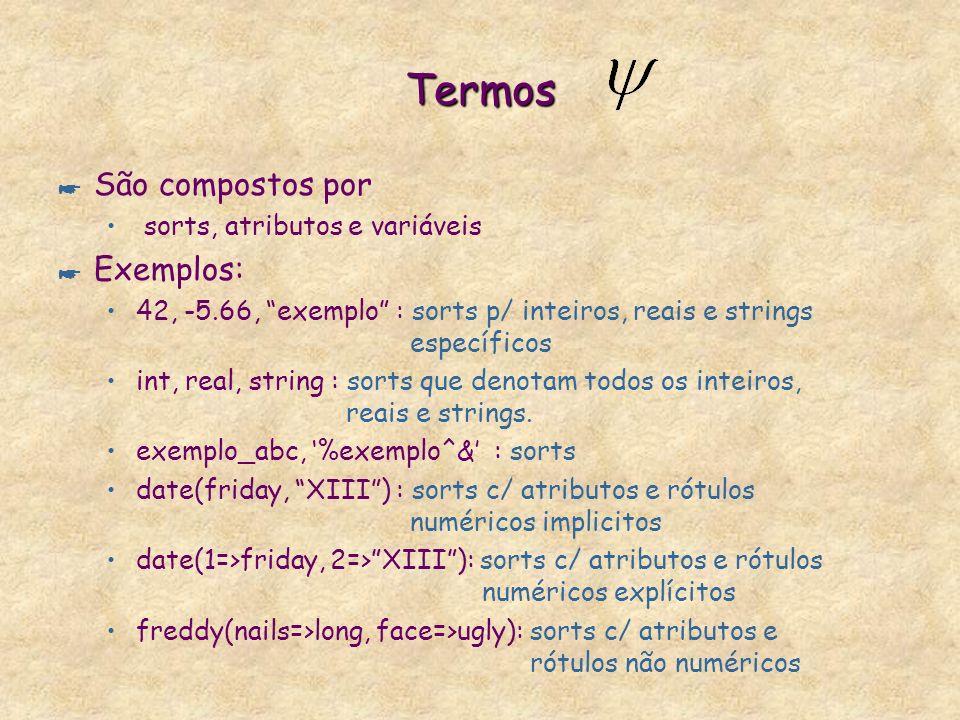Termos * São compostos por sorts, atributos e variáveis * Exemplos: 42, -5.66, exemplo : sorts p/ inteiros, reais e strings específicos int, real, string : sorts que denotam todos os inteiros, reais e strings.