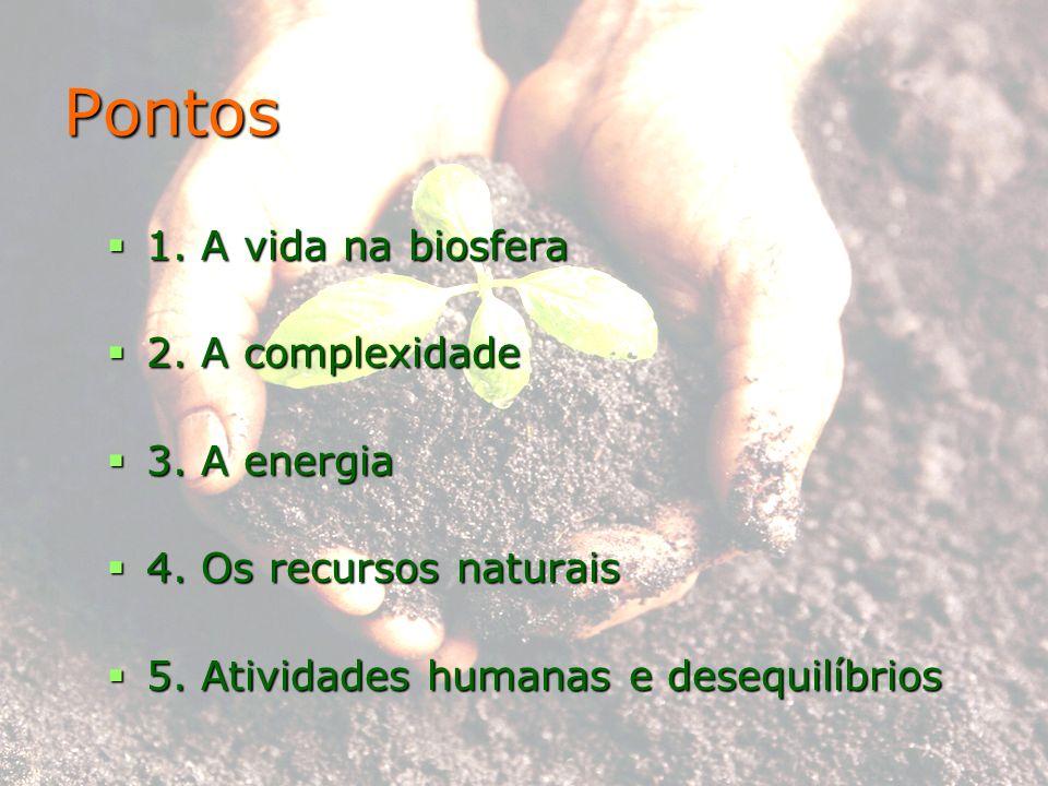 Pontos 1. A vida na biosfera 1. A vida na biosfera 2. A complexidade 2. A complexidade 3. A energia 3. A energia 4. Os recursos naturais 4. Os recurso