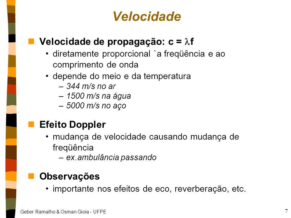 Geber Ramalho & Osman Gioia - UFPE 7 Velocidade nVelocidade de propagação: c = f diretamente proporcional `a freqüência e ao comprimento de onda depende do meio e da temperatura –344 m/s no ar –1500 m/s na água –5000 m/s no aço nEfeito Doppler mudança de velocidade causando mudança de freqüência –ex.ambulância passando nObservações importante nos efeitos de eco, reverberação, etc.