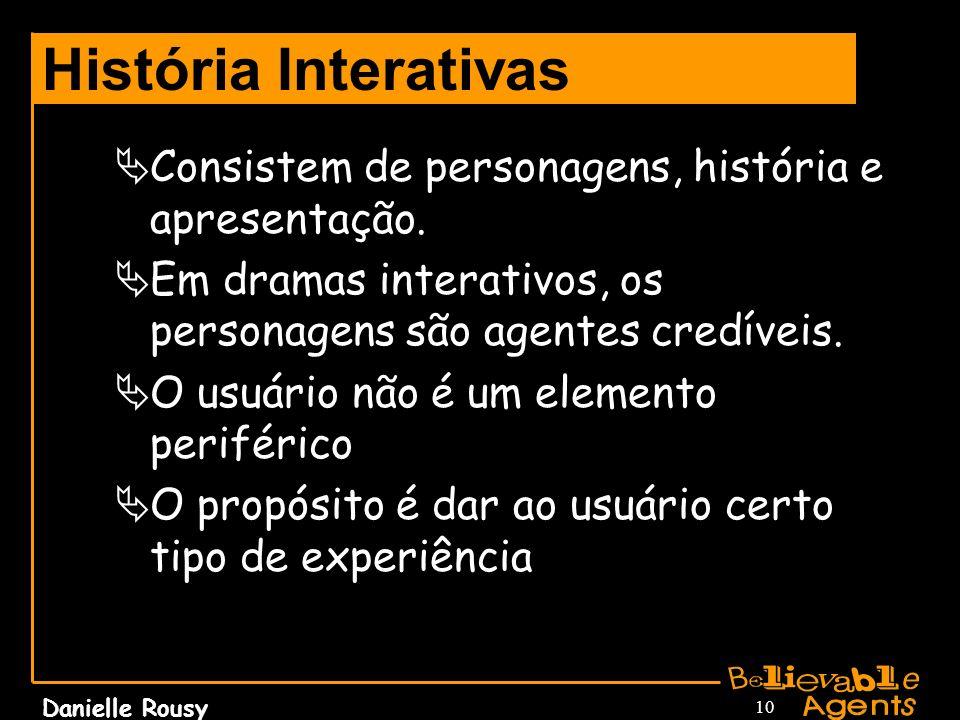 Danielle Rousy 10 História Interativas Consistem de personagens, história e apresentação. Em dramas interativos, os personagens são agentes credíveis.