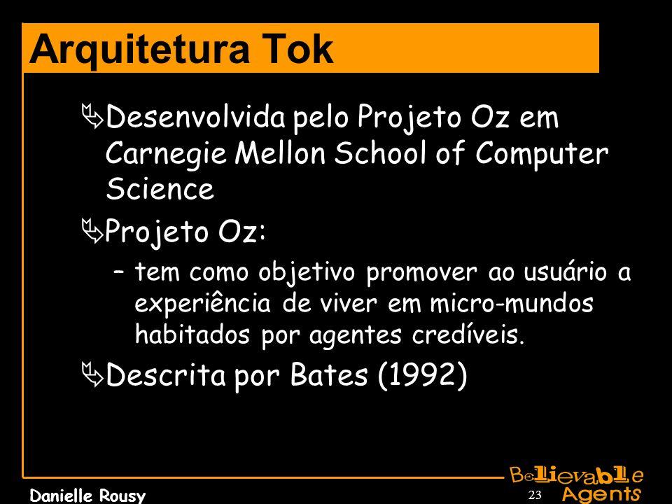 Danielle Rousy 23 Arquitetura Tok Desenvolvida pelo Projeto Oz em Carnegie Mellon School of Computer Science Projeto Oz: –tem como objetivo promover a