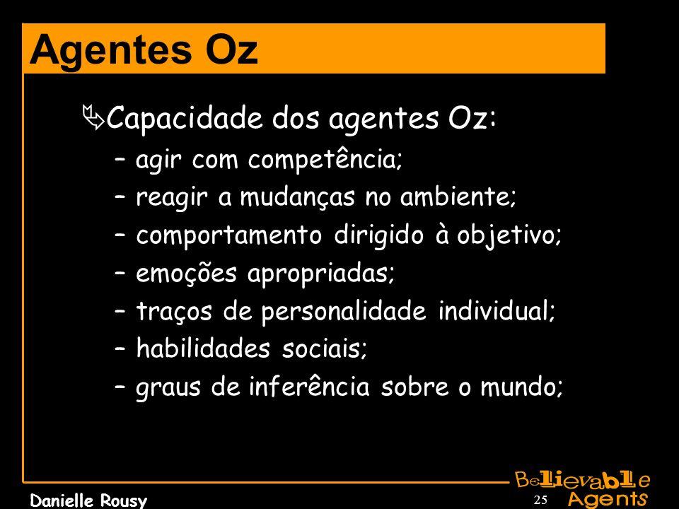 Danielle Rousy 25 Agentes Oz Capacidade dos agentes Oz: –agir com competência; –reagir a mudanças no ambiente; –comportamento dirigido à objetivo; –em