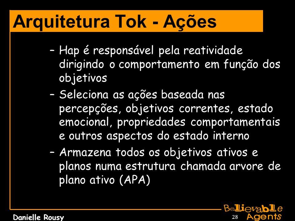 Danielle Rousy 28 Arquitetura Tok - Ações –Hap é responsável pela reatividade dirigindo o comportamento em função dos objetivos –Seleciona as ações ba