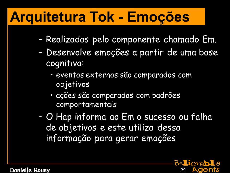 Danielle Rousy 29 Arquitetura Tok - Emoções –Realizadas pelo componente chamado Em. –Desenvolve emoções a partir de uma base cognitiva: eventos extern