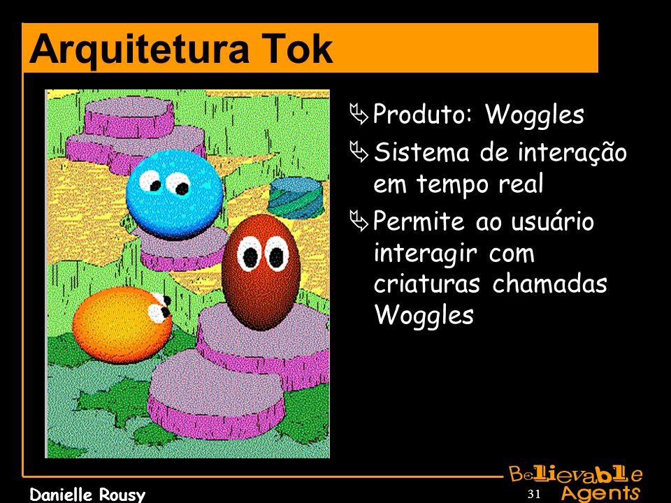 Danielle Rousy 31 Arquitetura Tok Produto: Woggles Sistema de interação em tempo real Permite ao usuário interagir com criaturas chamadas Woggles