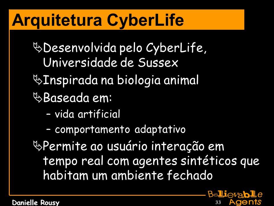 Danielle Rousy 33 Arquitetura CyberLife Desenvolvida pelo CyberLife, Universidade de Sussex Inspirada na biologia animal Baseada em: –vida artificial