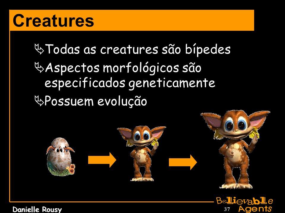 Danielle Rousy 37 Creatures Todas as creatures são bípedes Aspectos morfológicos são especificados geneticamente Possuem evolução