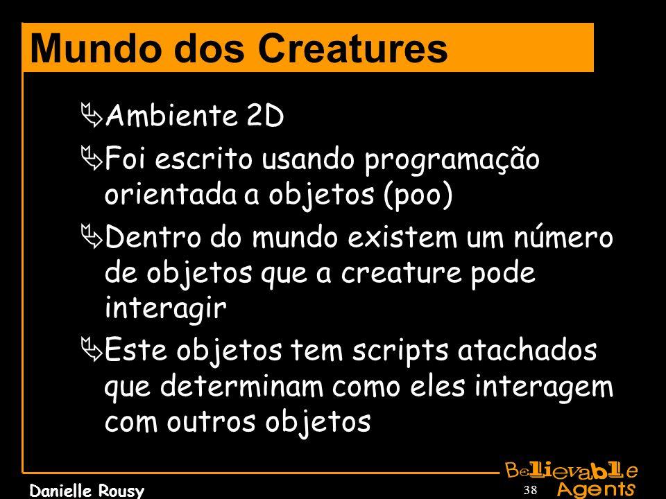 Danielle Rousy 38 Mundo dos Creatures Ambiente 2D Foi escrito usando programação orientada a objetos (poo) Dentro do mundo existem um número de objeto
