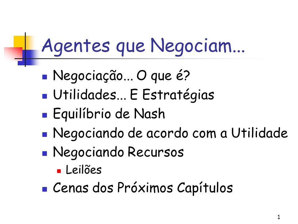 1 Agentes que Negociam... Negociação... O que é? Utilidades... E Estratégias Equilíbrio de Nash Negociando de acordo com a Utilidade Negociando Recurs
