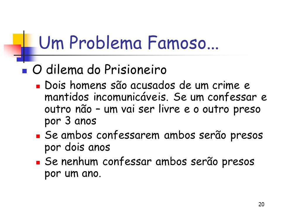 20 Um Problema Famoso... O dilema do Prisioneiro Dois homens são acusados de um crime e mantidos incomunicáveis. Se um confessar e outro não – um vai