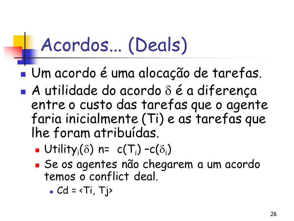 26 Acordos... (Deals) Um acordo é uma alocação de tarefas. A utilidade do acordo é a diferença entre o custo das tarefas que o agente faria inicialmen